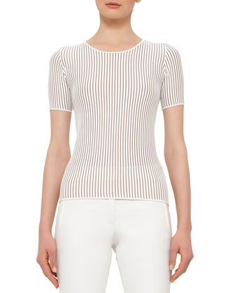 Short-Sleeve Skinny-Striped T-Shirt, Cream/Cord