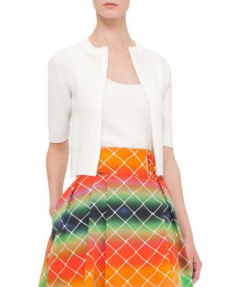 Half-Sleeve Honeycomb-Knit Cardigan, Cream