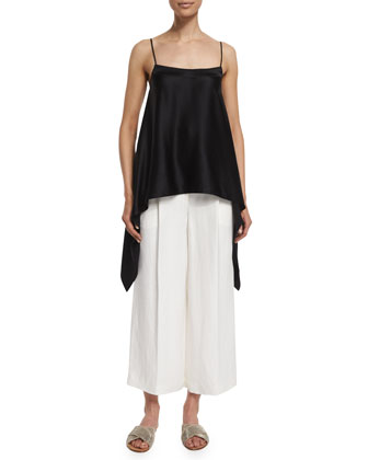 Square-Neck Silk Caftan Tank Top, Black