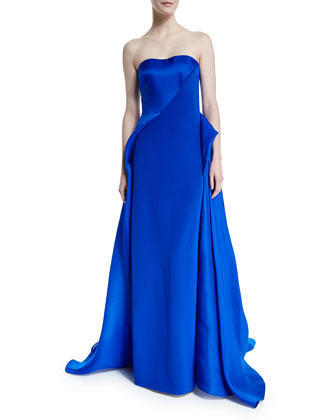 Strapless Draped Ball Gown, Royal
