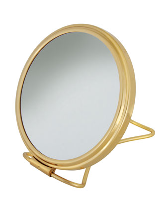 Brass Stand Folding Double Sided Travel Mirror, 5.25