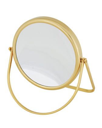 Brass Stand Folding Double Sided Travel Mirror, 6.25