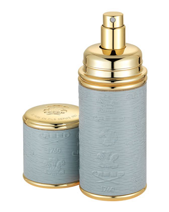Logo Etched Leather Atomizer, Gold/Gray