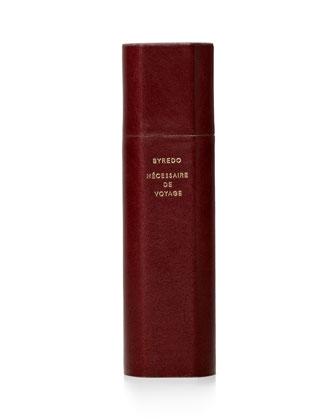 N??cessaire de Voyage Collection Calf Leather Travel Case, Burgundy