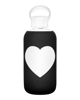 Glass Water Bottle, Jet Heart, 500 mL