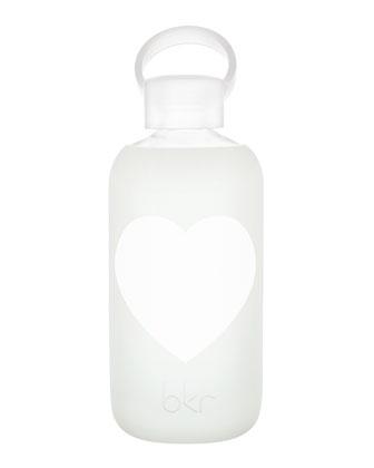 Glass Water Bottle, Milk Heart, 500 mL