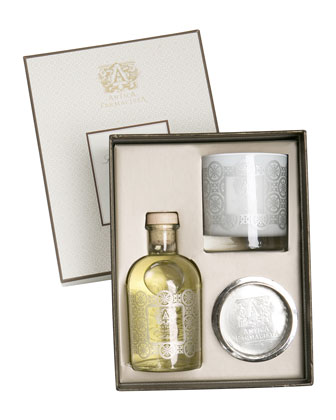 Holiday Gift Set with Diffuser, Candle & Silver Tray