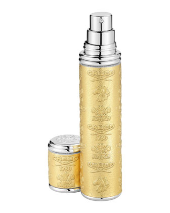 Gold Leather Atomizer with Silver Trim, 10 mL