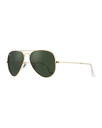 Classic Aviator Sunglasses, Gold/Green