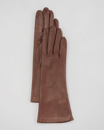 Silk-Lined Four-Button Gloves, Tan