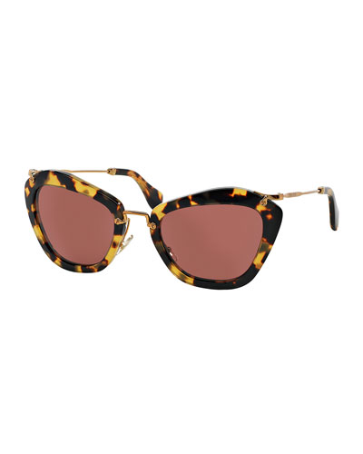 Miu Miu Catwalk Sunglasses, Yellow Havana