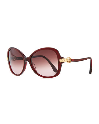 Signature Cable Butterfly Sunglasses, Garnet