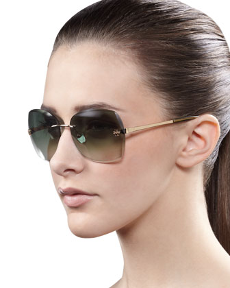 Rimless Gradient Sunglasses, Teal