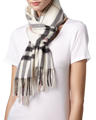 Giant-Check Cashmere Scarf, Ivory