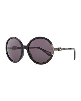 Shiny Round Sunglasses, Black