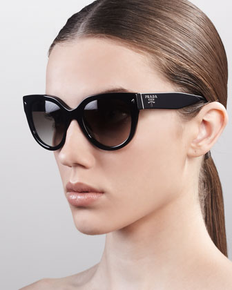 Heritage Cat-Eye Sunglasses, Black