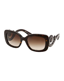 Prada Curved-Temple Sunglasses, Havana