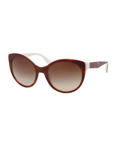 Prada Rounded Cat-Eye Sunglasses, Havana/Ivory