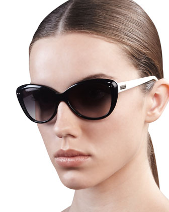 angelique cat-eye sunglasses, black/cream