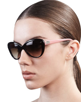 kate spade new york angelique cat-eye sunglasses, tortoise/blush