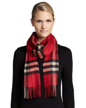 Giant Check Cashmere Scarf, Bright Vermillion