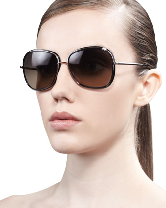 Emely Round Enamel & Metal Sunglasses, Black