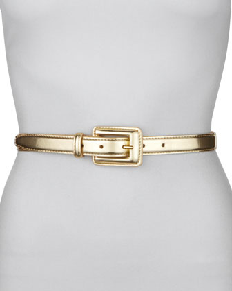 Covered Buckle Mirror Belt, Gold