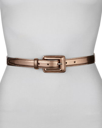 Covered Buckle Mirror Belt, Pewter
