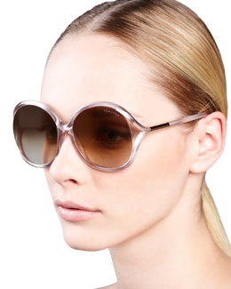 Tom Ford Rhi Glitter Oversized Open-Temple Sunglasses