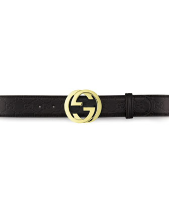 Leather GG Buckle Belt, Nero