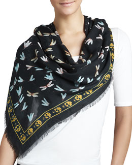 Alexander McQueen Dragonflies on Skull Scarf, Black/Grey