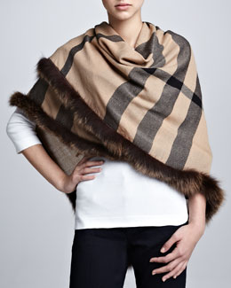 Burberry Fox Fur-Trimmed Check Scarf, Camel