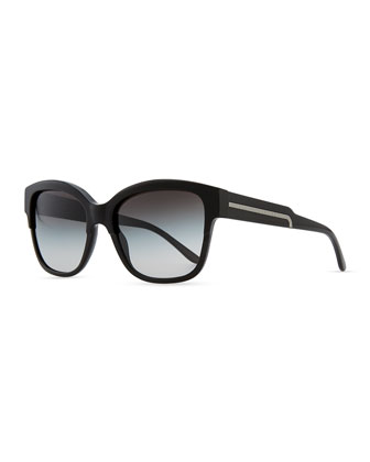 Oversize Cat-Eye Sunglasses, Black
