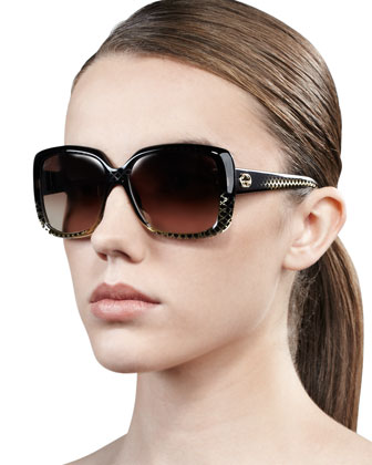 Oversized Square Diamond-Pattern Sunglasses, Black/Golden