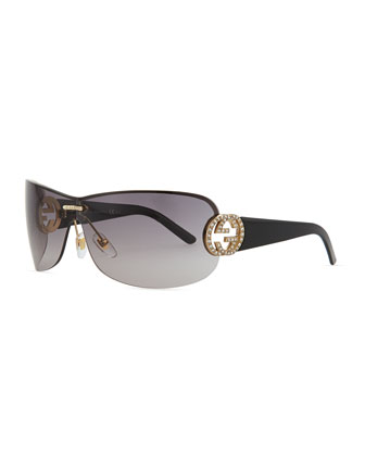 Interlocking GG Shield Sunglasses, Black