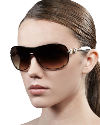 Crystal-Linked Shield Sunglasses, White