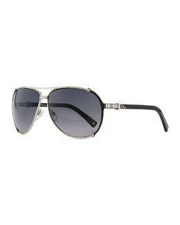 Dior Chicago Crystal Aviator Sunglasses, Palladium/Gray
