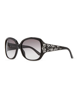 Dior Minuit Crystal-Encrusted Oversized Wrap Sunglasses, Black