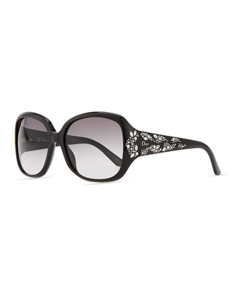 Minuit Crystal-Encrusted Oversized Wrap Sunglasses, Black
