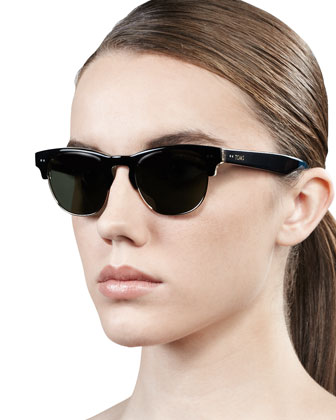 Lobamba Semi-Round Sunglasses, Black