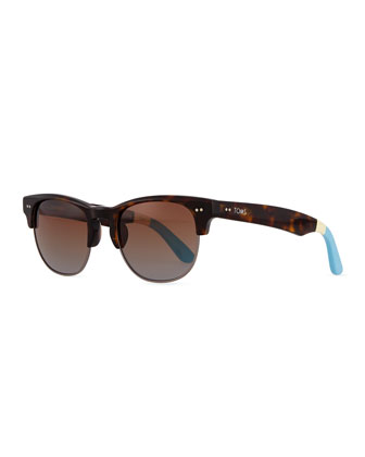 Lobamba Semi-Round Sunglasses, Brown