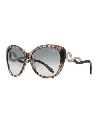 Serpent-Temple Oversized Cat-Eye Sunglasses, Black