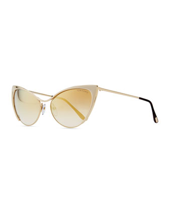 Nastasya Metal Cat-Eye Sunglasses