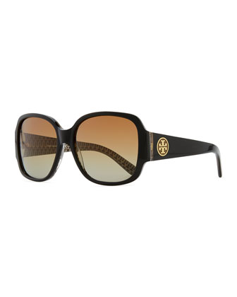 Logo-Temple Rounded Rectangle Sunglasses, Black