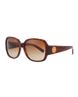 Tory Burch Logo-Temple Rounded Rectangle Sunglasses, Havana