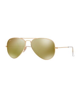 Ray-Ban Aviator Sunglasses with Flash Lenses, Gold/Red Mirror