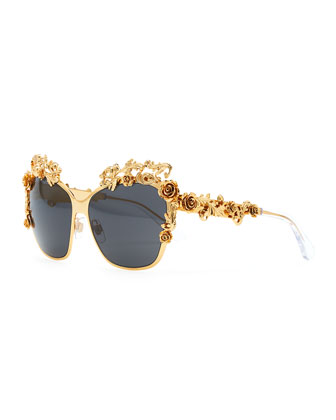 Baroque Flower Square Sunglasses