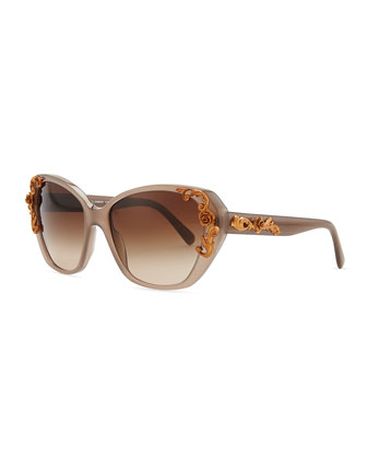 Flower-Temple Square Sunglasses, Brown