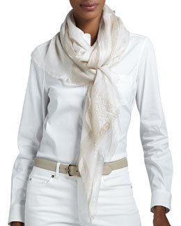 Loro Piana Aix Shimmer Striped Stole, White/Stone