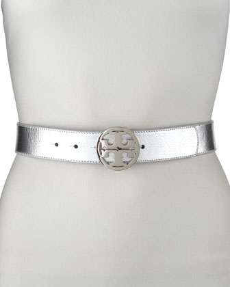 Classic Tory Logo Belt, Silver